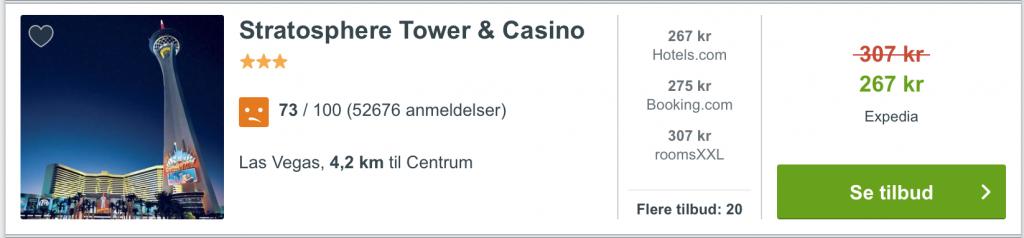 Hotel Las Vegas fra 267,-