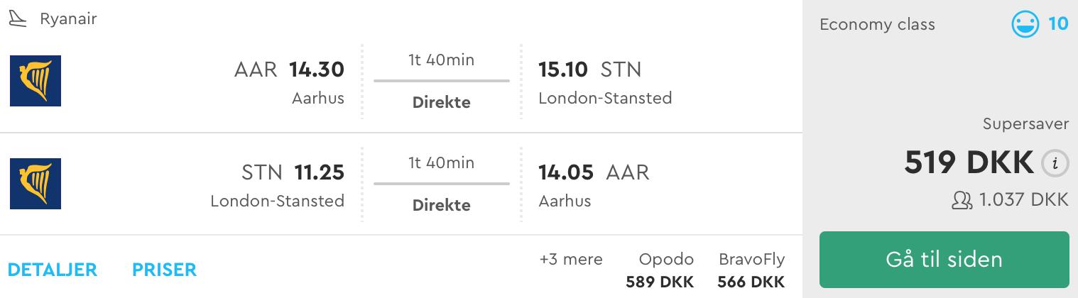 82eecc482cd Fra Aarhus er prisen for direkte fly med Ryanair 519,- pr. person ved  rejsedatoerne den 6. – 8. april 2018.